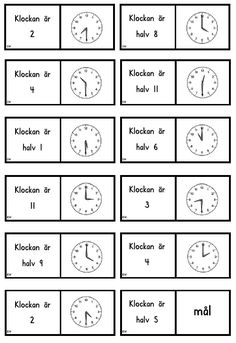 Klockdomino | Emma Math Activities For Kids, Math For Kids, Teaching Career, Teaching Math, Maths, Montessori Materials, Teaching Materials, Math Clock, Learn Swedish