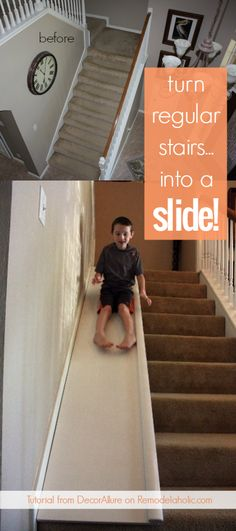 What a fun idea! This easy DIY stair slide would be so fun on a wide set of stairs, plus it's easy to remove when you need to move things up the stairs, etc. DIY Stair Slide, or How to Add a Slide to Your Stairs Samantha Fritchley smlabno New home Diy Slides, Indoor Slides, Indoor Slide Stairs, Basement Stairs, House Stairs, Basement Apartment, Kids Basement, Basement Ideas, Stair Slide