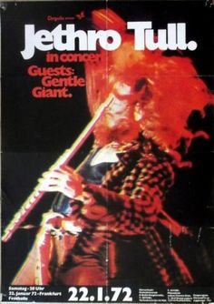 Pop Posters, Band Posters, Music Posters, Old Scool, Vintage Concert Posters, Jethro Tull, Psychedelic Rock, Progressive Rock, Vintage Rock