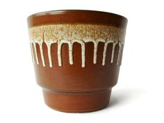 Vintage brown ceramic planter from the 70s by VintageBreda on Etsy