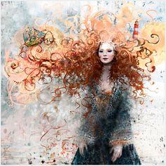 fernanda-maya: Windbinder by *Daywish Redhead Art, Hair In The Wind, Wind Hair, Rides Front, Illustration, Installation Art, Redheads, Amazing Art, Fantasy Art