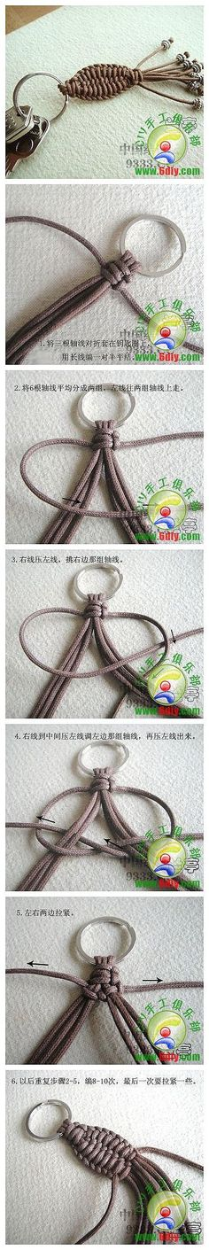 DIY Chinese Knot Key Chain, maybe a nice pendant, too. Paracord Projects, Macrame Projects, Diy Projects, Macrame Knots, Macrame Jewelry, Chain Jewelry, Beaded Beads, Paracord Knots, Diy Keychain