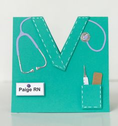 Handmade Card for nursing school graduate. Custom colors for school or work add extra personal touch. Can also be thank you for a favorite nurse, nurse appreciation, or nurse retirement. Also suitable for other medical professionals, men and women. Die cut stethoscope, syringe, and bandaid embellish this card. Pocket and collar are dimensionally mounted and have inked stitching. Cute card to celebrate nursing school graduation, pining ceremonies, promotions, retirements, or just to honor the…