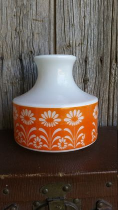 French Vintage Funky Milk Glass and Orange by VintageVinnieFrance