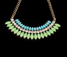 Sky Blue And Light Green Gold Plated Alloy Necklace With Artificial Gemstones And Crystals