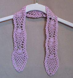 Crochet Pineapple tie, in a mauve #10 cotton thread.