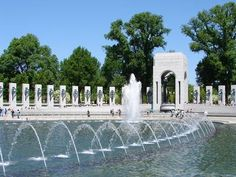 Monuments and Memorials - A Photo Tour of Washington, DC.  The World War II Memorial, the newest monument on the National Mall in Washington DC, is a beautiful place to visit and pay your respects to World War II veterans. It is an oval shape with two 43-foot arches, representing the war's Atlantic and Pacific theaters. Fifty-six pillars represent the states, territories and the District of Columbia at the time of the war.