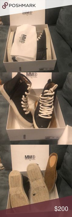 Cute black mm6 sneakers Lightly worn can be worn in the spring summer or use fur soles for the winter weather MM6 Maison Martin Margiela Shoes Sneakers
