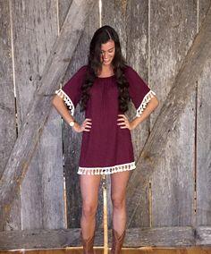 Burgundy Tassel Dress $36.00