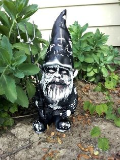Black metal garden gnome... not your average gnome!