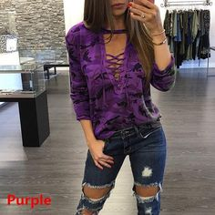 5579add1 Long Sleeve Lace T-Shirt Women Camouflage Print Deep V Neck Sexy Tee Tops  Bandage Casual T shirt Tops