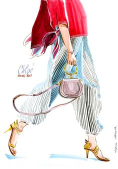 fashion illustration by Irina Ivanova: Chloe SPRING 2017 READY-TO-WEAR collection. #runway #Chloe #SPRING2017 #fashionillustration #illustration #fashionsketch #fashion #drawing #ink #watercolor #accessory #fashionshow #shoes #clothes #bag #Couture #fashionweek #fashionillustrator #наброски #мода #artwork #artworkforsale