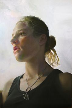 """Karen Jean 2"" - Stephen Wright, oil on canvas, 2010 {contemporary figurative art blonde female head upward perspective woman face portrait painting} stephenwrightart.com"