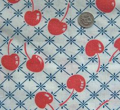 vintage feedsack fabric  RED CHERRIES by NauvooQuiltCo on Etsy, $5.50