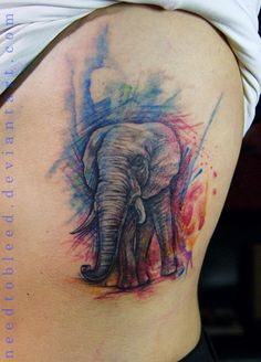 Elephant watercolor tattoo I would love this but with a peacock