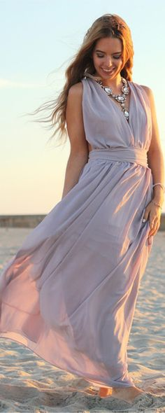 686cf25453 Shop Light Purple Deep V Neck Maxi Dress online. SheIn offers Light Purple Deep  V Neck Maxi Dress   more to fit your fashionable needs.