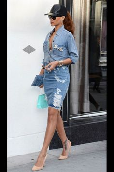The Best Street Style Inspiration & More Details That Make the Difference Rihanna denim outfit. denim button front long sleeve top, destroyed denim knee length skirt, cream pink heels, black hat and black sunglasses Mode Rihanna, Rihanna Street Style, Black Girl Fashion, Denim Fashion, Skirt Fashion, Looks Rihanna, Chic Outfits, Fashion Outfits, Rihanna Outfits