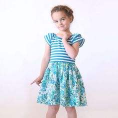 """Download your copy of the free """"hello spring"""" dress and top printable PDF pattern for girls in size 4/5 XS. East sewing tutorial. How to sew a dress."""