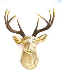 Faux Taxidermy Deer Head wall mount wall hanging wall decor in Gold with natural looking antlers