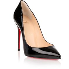 Christian Louboutin Pigalle Follies 100 Patent Black Pump ($575) ❤ liked on Polyvore featuring shoes, pumps, black, black patent leather shoes, pointed toe high heel pumps, black high heel shoes, christian louboutin pumps and black pumps