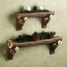use this idea to make rustic wall shelves
