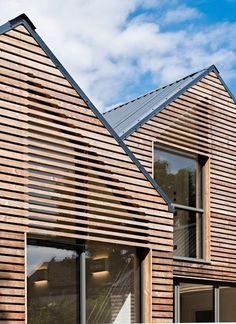 metal roof, wood cladding, some transparency