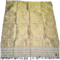 e1a221048 Natural color Eri silk and ghicha silk blended traditional Assamese weave  bridal stole with all over zari work