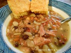 I cooked a ham, potato salad, green beans and cornbread for Sunday dinner yesterday. Today I was cutting up the remaining ham and notice. 13 Bean Soup Recipe, 15 Bean Soup, Soup Beans, Ham And Bean Soup, Bean Soup Recipes, Ham Soup, Good Luck Soup Recipe, Chili Recipes, Bake Beans
