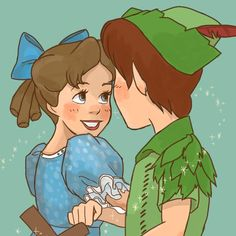 Peter Pan and Wendy drawing