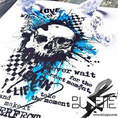 Trash polka abstract skull text tattoo idea inspiration bunette