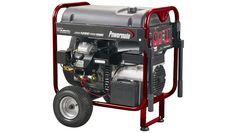 Powermate PM0601250 Portable Generator  http://www.onelastreview.com/powermate-pm0601250-portable-generator-review    The 12500 Watt generator is ideal for home backup and jobsite power. The unit features a 22 HP Subaru Electric Start V-Twin OHV gas engine with low-oil shutdown. The 8 gallon gas tank with fuel gauge runs up to 6 hours @ 50% load.