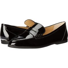 MICHAEL Michael Kors Connor Loafer (Black Patent) Women's Shoes ($90) ❤ liked on Polyvore featuring shoes, loafers, black, black pointy toe flats, black flats, black patent leather flats, michael michael kors shoes and slip-on loafers