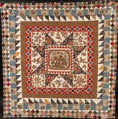 Lot:IRISH BRODERIE PERSE MEDALLION & FRAME QUILT, 1850, Lot Number:472, Starting Bid:$1600, Auctioneer:Jackson's Auction, Auction:IRISH BRODERIE PERSE MEDALLION & FRAME QUILT, 1850, Date:06:00 AM PT - Sep 18th, 2012