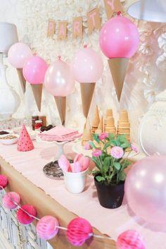 décoration ballon anniversaire déco rose glaces