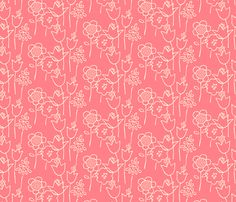 Drawn Floral (coral) fabric by leanne on Spoonflower - custom fabric