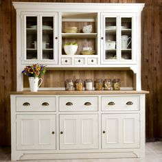 White Kitchen Dresser vintage low teak sideboard w/ sliding doors & 3 drawers - danish