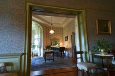 """View into """"Ladies' Lounge"""" - one turns right into the drawing room, or ladies' lounge. (As seen here from the dining room. Ghost House, New Hospital, Drawing Room, Victorian Fashion, Castle, Lounge, Pretoria, Explore, Building"""