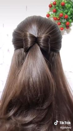 Front Hair Styles, Medium Hair Styles, Curly Hair Styles, Hair Medium, Hair Style Vedio, Bun Hairstyles For Long Hair, Hairstyles With Ribbon, Girls School Hairstyles, Office Hairstyles