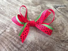 Watermelon Bow Lined Alligator Glip with NoSlip by IsleofLittleYou