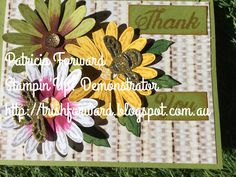 A thank you card I created using the new daisy delight stamp set and daisy punch. I also stamped a bee from the dragonfly dreams bundle fussy cut and die cut a bee from gold glimmer paper. To find more ideas and Stampin'Up! Products visit my blog at http://trishforward.blogspot.com.au