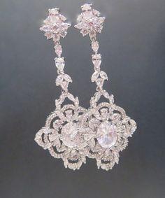 Long Bridal earrings Crystal wedding earrings by treasures570, $65.00