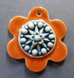 Image of Happy Flower Layered Pendant in Tangerine & Teal - #2