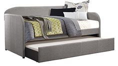 Homelegance Modern Design Daybed with Trundle Fully Upholstered Polyester, Twin, Grey Full Size Daybed, Twin Daybed With Trundle, Trundle Beds, Platform Daybed, Daybed Room, Daybed Design, Upholstered Daybed, Thing 1, Affordable Bedding