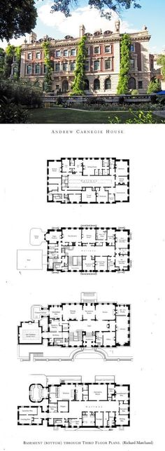 Floorplans for Gilded Age Mansions. – SkyscraperPage Forum Andrew Carnegie House Floorplans for Gilded Age Mansions. House Plans Mansion, Sims House Plans, Dream Mansion, Dream House Plans, House Floor Plans, Castle House Plans, The Plan, How To Plan, Sims Building
