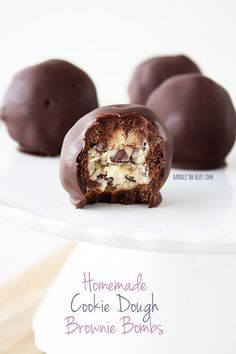 Homemade Cookie Dough Brownie Bombs from handletheheat.com