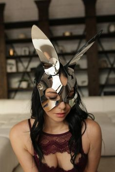 This item is unavailable Bunny Mask, Cat Mask, Masque Halloween, Leather Mask, Shooting Photo, Couple Aesthetic, Aesthetic Vintage, Leather Accessories, Club Dresses