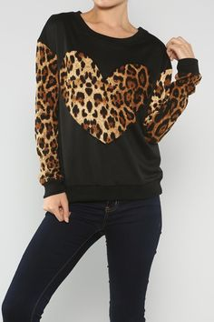 Heart Leopard Sweater #wholesale #fall #cardigan #sweater #pants #jacket #sweater #fashion #clothing #ootd #wiwt #shopitrightnow #graphics #patterns #heart