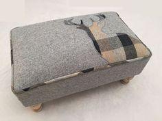 Grey Check Tartan Stag Soft Woven Tweed Wool Fabric Footstool Pouffe Stool   eBay