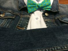 Colorful cotton bow tie goes great with a light color shirt and jean jacket.