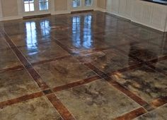 brown and gray polished concrete: from howtostainconcretefloors.com